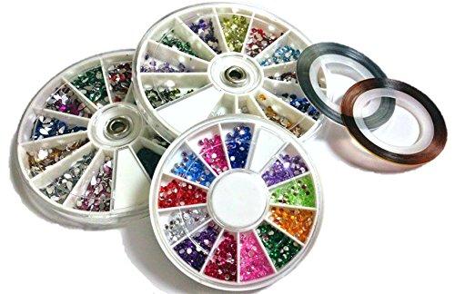 カラー ラインストーン 12色×3種類 ハート型 ティアドロップ型 丸型 ネイルアート パーツ ラインテープつき