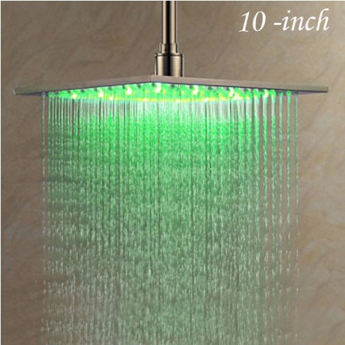 Nickel Brushed 10 Inches LED Changing Color Rainfall Shower Head Over Head Sh