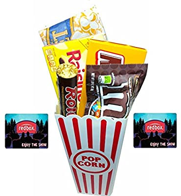 Movie Night Popcorn, Candy And Redbox Movie Gift Basket ~ Includes Movie Theater Butter Popcorn, Concession Stand Candy and a Gift Card for 2 Free Redbox Movie Rentals