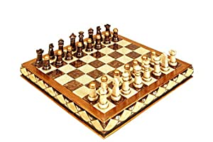 Deco 79 Poly-Stone Chess Set, 17 by 5-Inch