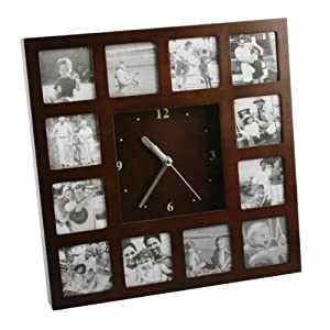 deluxe wooden photo frame wall clock photo frame clock amazoncouk
