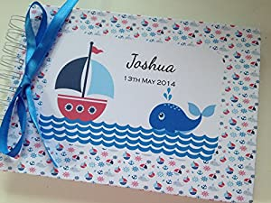 Personalised Baby Boy/1st/2nd/3rd/4th Birthday/Baby Shower/Pregnancy Scrapbook/Photo Album/Memory Book/Guest Book - Nautical (A5 (8.5