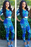 New Sexy Woman`s Stylish Blue Floral Print 3/4 Sleeve Jumpsuit Rompers Bodysuit Clubwear Party Size S 8 10