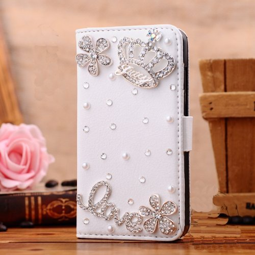For Samsung Galaxy Note 3 Note III N9000 Mobile Phone Case Lady Wallet case with 3D bling Rhinestone fold flip leather cover housing new designer by wellpad (silver crown and love)