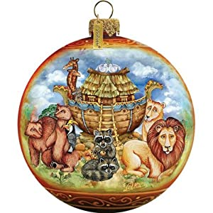 G. Debrekht Noah's Ark Ball Ornament, Hand-Painted Glass, 3-Inch, Includes Satin Ribbon for Hanging
