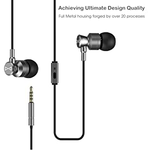 Marsno M1 Wired Metal In Ear Headphones, Noise Isolating Stereo Bass Earphones With Mic,Dynamic Drivers Earbuds Provide Stereo & Crystal Clear Sound (Grey) (Color: Grey)