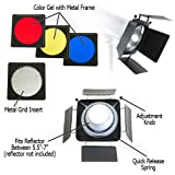 "Fotodiox Universal Barn door Barndoor Kit with Honeycomb grid (45 Degree) and Color Gels for Alien Bees Alienbees Strobe Light with 5.5"" - 7"" Reflector"