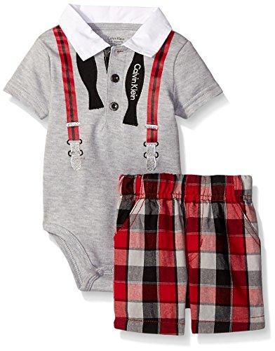 Calvin Klein Newborn Boys Interlock Body Top with Woven Shorts, Gray, 3-6 Months