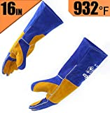 RAPICCA Leather Forge Welding Gloves Heat/Fire Resistant, Mitts for Oven/Grill/Fireplace/Furnace/Stove/Pot Holder/Tig Welder/Mig/BBQ/Animal handling glove with 16 inches Extra Long Sleeve – Blue