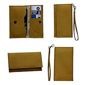 Jo Jo A5 G8 Leather Wallet Universal Pouch Cover Case For Philips D813 Light Brown
