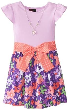 Girls Rule Little Girls' Floral Printed Tie Waist Dress, Purple, 4