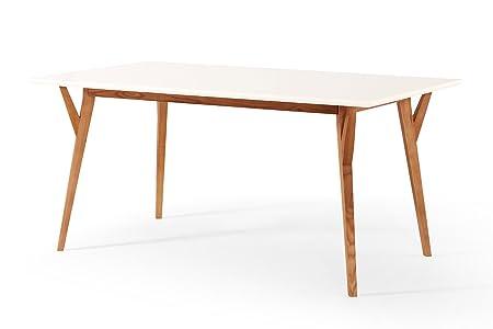 Table de Salle à Manger Design Vintage blanche et bois Dewarens Limmat