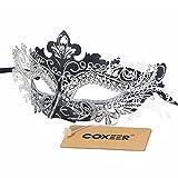 Coxeer Pretty Elegant Lady Masquerade Halloween Mardi Gras Party Mask, Black Silver