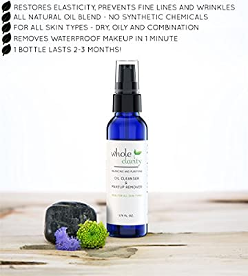 Best Cheap Deal for Cleansing Oil & Waterproof Makeup Remover, All Natural, Reduces Fine Lines & Wrinkles, Helps Heal Acne and Scaring, with Organic Jojoba & Rosehip Oils, for All Skin Types by Whole Clarity 1.75 FL. OZ from Whole Clarity - Free 2 Day Shi