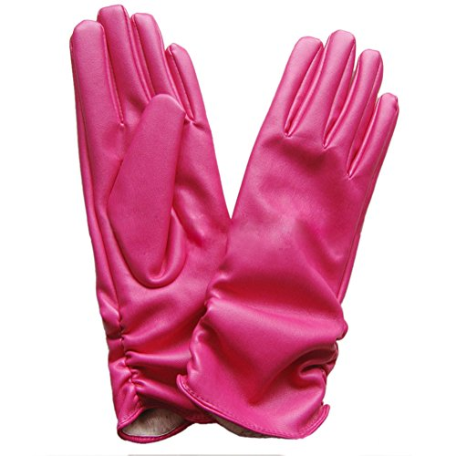 TopTie Soft PU Leather Women's Glove with Wrinkle Cuff