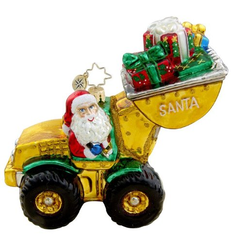 RADKO LOADIN' UP Construction Truck Wheel Loader Santa Glass Ornament