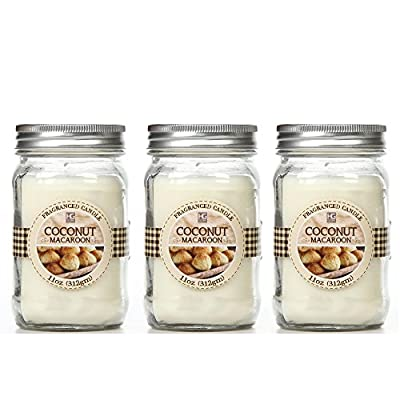 Bulk Buy. Hosley's Set of 3, Coconut Macaroon Scented Mason Jar Candles 11oz Each. Ideal votive GIFT for party favor, weddings, Spa, Reiki, Meditation, Bathroom settings