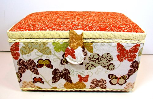 St.Jane Sewing Basket,Ecro with Butterflies & Flowers,plastic Compartment Shelf,handle,11.5