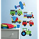 Wallies Peel and Stick Wall Art, Olive Kids Trains, Planes and Trucks