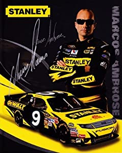 Buy AUTOGRAPHED 2010 Marcos Ambrose #9 Stanley Tools (Petty Motorsports) 8X10 Hero Card by Trackside Autographs