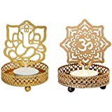 One Stop Shop Metallic Shadow Om & Ganesha Tea Light Candle Holder (Combo Set)