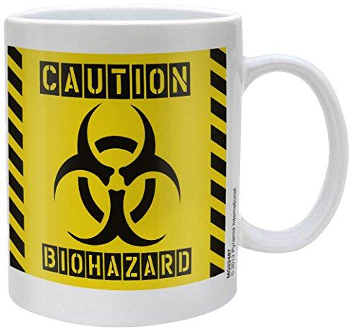 """Tazza in ceramica bianca, scritta """"Biohazard"""""""