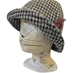 Irish Ladies Hat - Houndstooth - Deborah Style - Hand Woven in Ireland