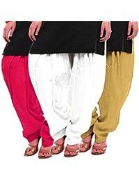 Women's Rani White-Beige Cotton Patiala Salwar