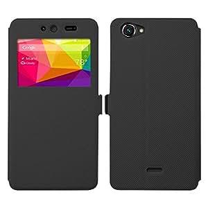 BLU Dash X Case - Asmart Slim Stand Quick View Window Side Flip Pu Leather Cover Case for BLU Dash X (Black)