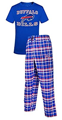 "Buffalo Bills NFL ""Tiebreaker"" Men's T-shirt & Flannel Pajama Sleep Set"