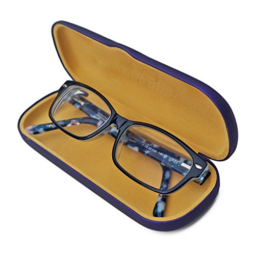 Perfect Eyeglass Case | 100% Money Back Guarantee | for Men & Women | Small Medium Size | Smooth Finish | Metal | Hard | Purple Satin |