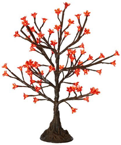 Arclite Nbl-050-1 Cherry Blossom Tree With Leaves, 2.5' Height, With Natural Brown Trunk, Red Crystals And Red Lights
