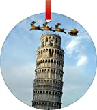 Santa and Sleigh Riding Over the Leaning Tower of Pisa in Daylight-Double-Sided Round Shaped Flat Aluminum Christmas Holiday Hanging Tree Ornament with a Red Satin Ribbon. Made in the USA!