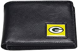 NFL Green Bay Packers Men's Leather RFiD Safe Travel Wallet, 4.25 x 3.25