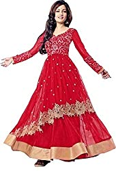 Women's Net Semi Stitched Red Fancy Partywear Gown
