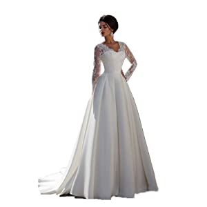 Newdeve Neckline A-line White Wedding Gown for Women with Long Sleeves (12)