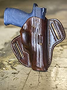 OUTBAGS LOB9P-G41 Brown Genuine Leather OWB Open Carry Pancake, Side Carry Belt Holster for Glock G34 34 9mm / G35 35 .40 / G41 41 .45ACP. Handcrafted in USA.