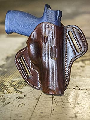 OUTBAGS LOB7P-CZ75SP01 Brown Genuine Leather OWB Open Carry Pancake, Side Carry Belt Holster for CZ-USA CZ75 SP-01 9mm. Handcrafted in USA.