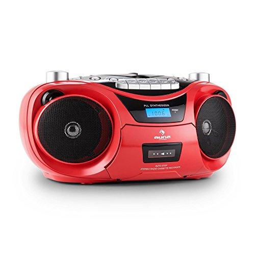 Auna Groove Star - Poste radio cassette avec lecteur CD et port USB pour MP3 (haut-parleurs stereo, enregisterment K7, tuner FM) - rouge