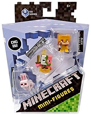 Minecraft Mini Figure 3-Pack - Alex with Gold Armor, Killer Rabbit, & Spawning Zombie Pigman