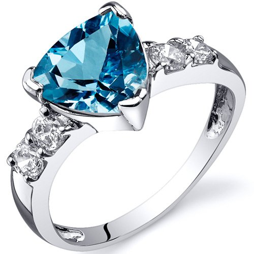 Revoni Solitaire Style 2.00 carats Swiss Blue Topaz CZ Ring in Sterling Silver Available in Sizes J thru R
