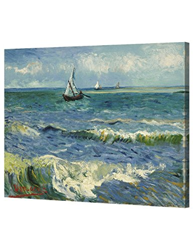 DecorArts - The Sea at Les Saintes-Maries-de-la-Mer, by Vincent Van Gogh. The Classic Arts Reproduction. Art Giclee Print On Canvas, Stretched Canvas Gallery Wrapped. 30x24