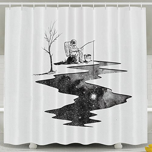 [Funny Fishing Astronaut Water Repellent Shower Curtain Siaename] (Magnificent Movie Costume)