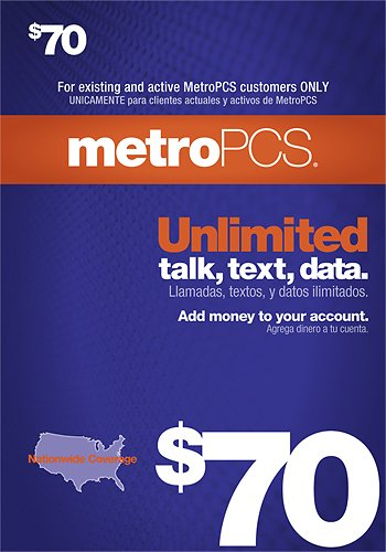 MetroPCS Metro PCS $70 refill top up card prepaid card 100% work or