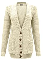 Cexi Couture - Gilet Femme Tricot Maille Bouton Style Grand-Père Cardigan Neuf - 36-42, Blanc mat