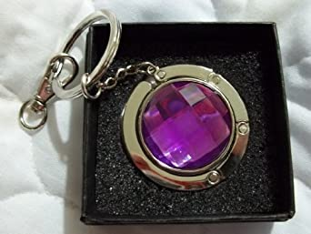 Colorful Crystal (Light Purple) Handbag Hook, Foldable Purse Hanger, Purse Hook