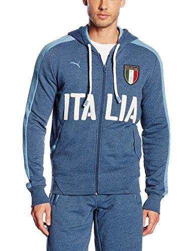 Giacca da uomo PUMA FIGC Italia Azzurri Zipthrough felpa con cappuccio, Denim scuro-Blue Heaven, m, 748820 01