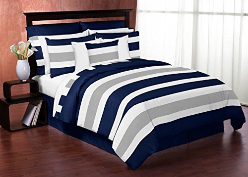 Navy Blue, Gray and White Childrens, Teen 3 Piece Full / Queen Boys Stripe Bedding Set Collection