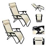 Magshion*1 Pair-Lounge Chair Recliner Patio Pool Beach outdoor Chair (Khaki)