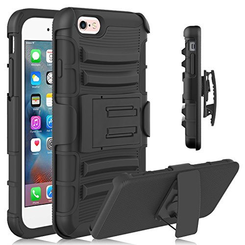 iPhone 6 Plus Case, HengTech (TM) Full Body Protection Hybrid Dual Layer Heavy Duty Holster Case with Kickstand and Locking Belt Swivel Clip for Apple iPhone 6 Plus/6s plus 5.5 Inch (Black) (Iphone 6 Plus Locked At&t compare prices)